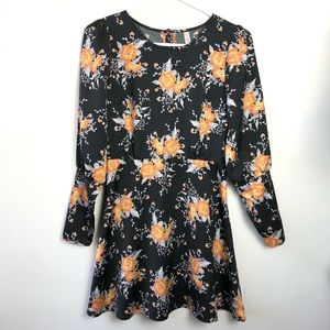 Free People Size 0 Floral Long Sleeve Dress